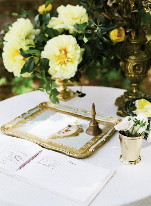 HOME STYLE: Vintage appointments on the sign-in table gave the setting a homey aura.