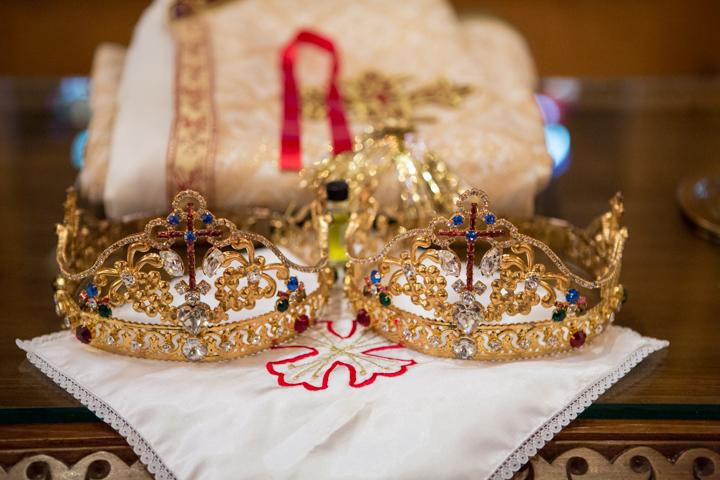 PRECIOUS JEWELS: In the Eastern Orthodox church, the crowns donned by two newlyweds symbolize the crowns that await them in heaven.