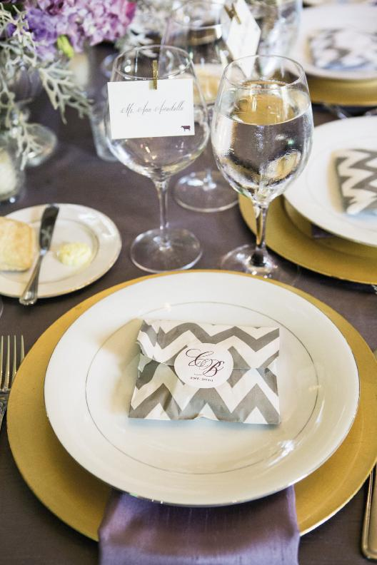 FOOD COLORING: Goldenrod chargers and lavender linens carried the palette to the dinner table, where pralines in silver chevron-printed bags greeted guests.
