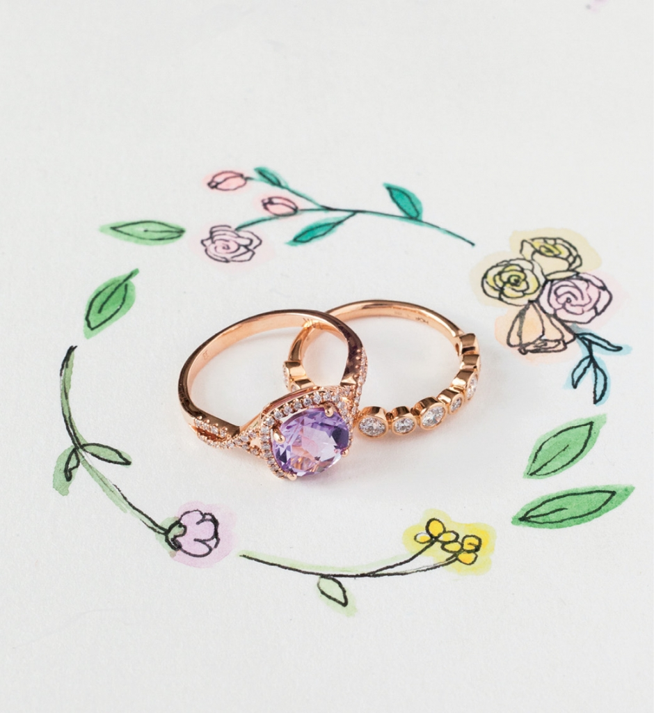 (from left) 14K rose gold ring with 2.5 ct. pink amethyst center and accent diamonds (.25 total cts.) from Diamonds Direct, $1,390. Hearts on Fire's 18K rose gold band of bezel-set diamonds (.65 total cts.) from Kiawah Fine Jewelry, price upon request. Artwork by Natalie Taylor Humphrey