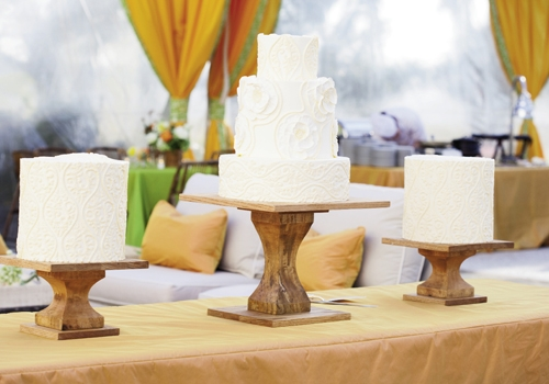 "CAKEWALK: ""I can't wait to get another taste on our anniversary!"" says Tyler of the treats from Wedding Cakes by Jim Smeal."