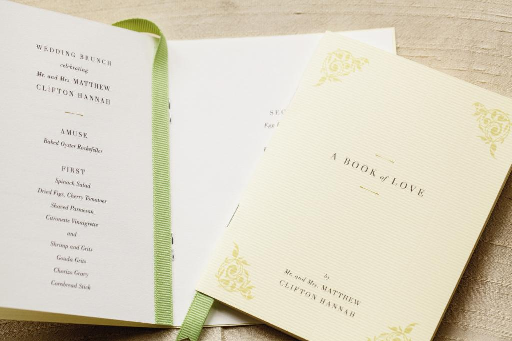 BOOK OF LOVE: The extensive menu was shared in a booklet that included a poem of the couple's favorite things.