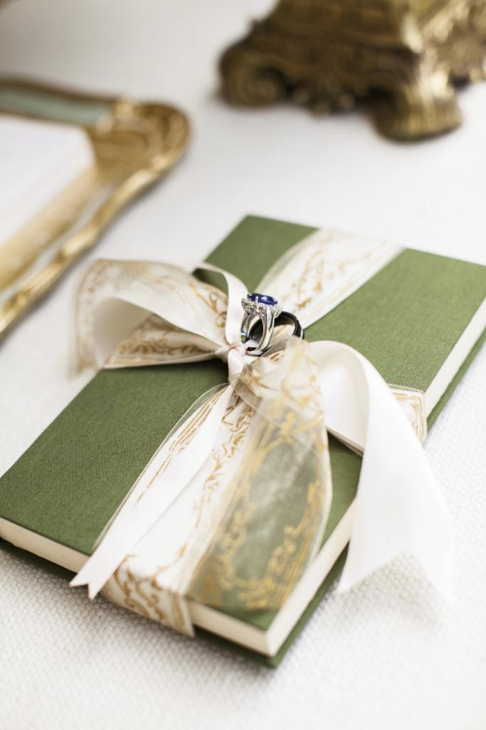 BOUND IN LOVE: Liz and Matt's rings were tied to an original copy of their favorite Harry Potter book.