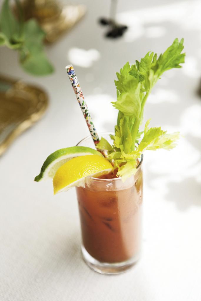 GOOD MORNING: Bloody Marys scored flourish via floral-printed paper straws.