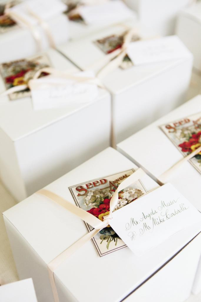 GROW TOGETHER: Guests took home boxed tea cups tied off with seed packets.