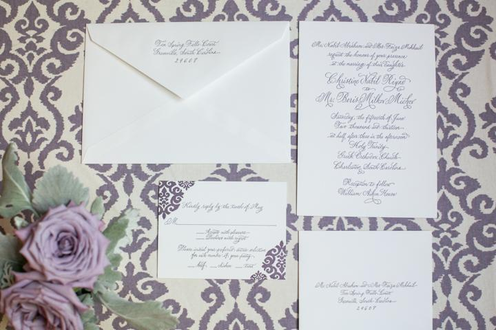 COMING SOON: Invitations from mac & murphy foreshadowed the wedding's decadent décor hues.