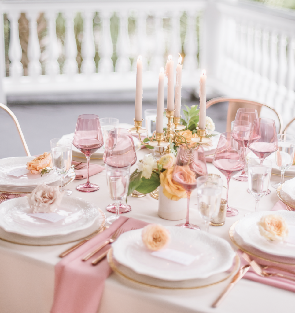 Mix romance with a touch of glam by selectively blending metallic rose gold with softer rosy and orange tones.