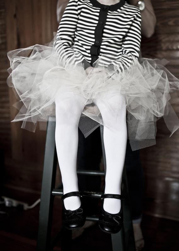 BEAUTY BALLERINA: Flower girls rocked RETULLED tutus and Crewcuts black and white striped cardigans from J.Crew.
