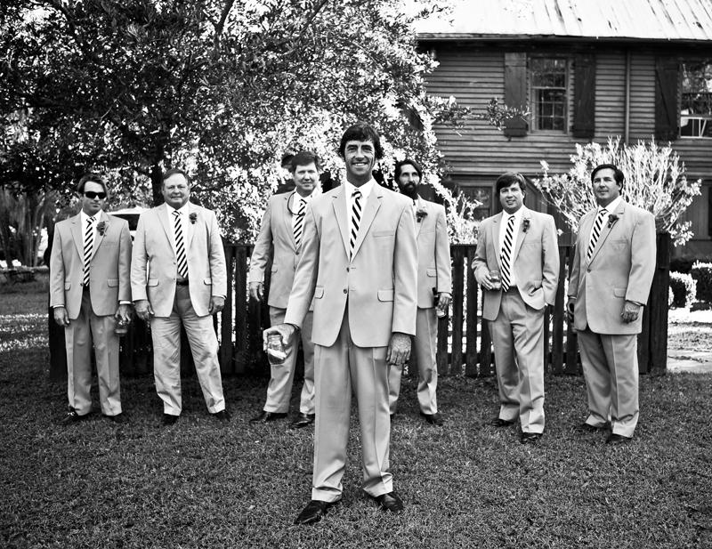 "HEY, GOOD LOOKIN':  John and his groomsmen wore khaki-colored suits from Berlin's for Men. Of the ties Ashley says, ""When I saw Harper's Proud Mary black and white-striped ties, I knew it was a sign."""