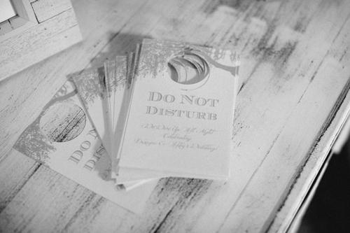 DO NOT DISTURB: Dodeline design crafted door hangers for guests to take back to their hotels.