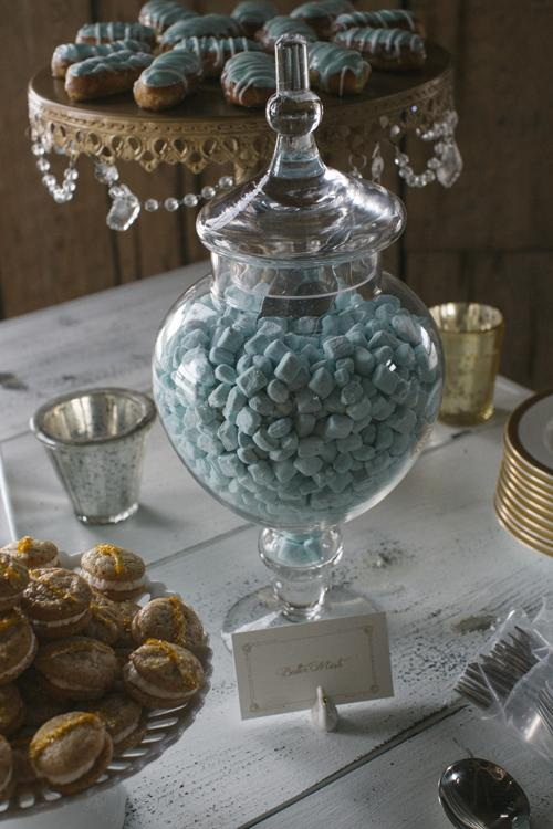 HUE KNEW: Instead of spreading the wedding's blue palette throughout the ceremony and reception, Abby maximized its impact by concentrating it to the dessert table.