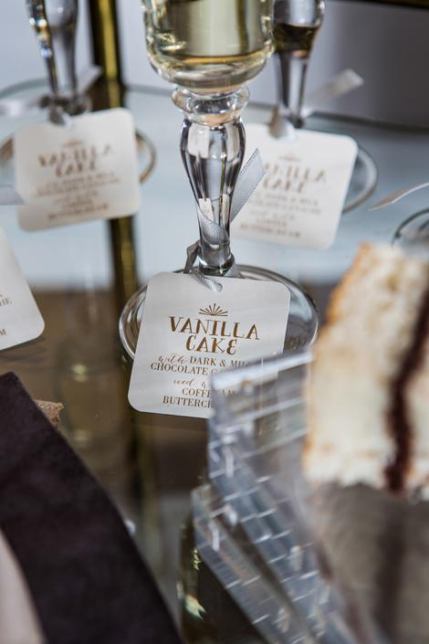 TAG TEAM: We loved the way the tags on toasting flutes invited would-be guests to sample the cake.