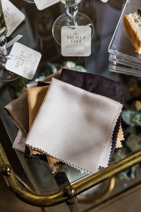 UPCYCLE: Use pinking shears to cut remnants into napkins.