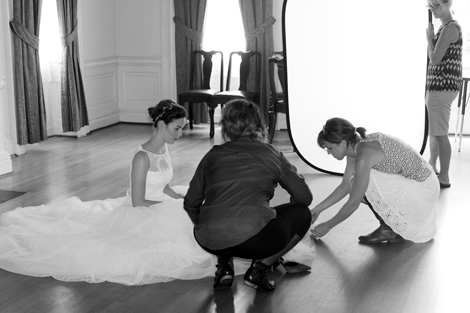 Prepping for the cover shot's sea of tulle. Image by Jessica Doherty.