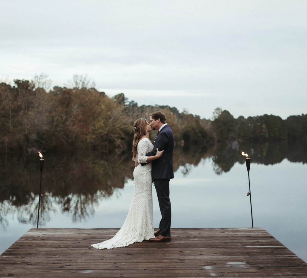 Foregoing the traditional Charleston beach or plantation wedding venue, Sarah Knowles and Ben Creasy sought a more rustic retreat, where they could accommodate family and friends for a whole week before, during, and after the wedding. The Lake House at Bulow County Park on John's Island allowed them opportunities for hiking, kayaking, fishing, games, and relaxation with their nearest and dearest.