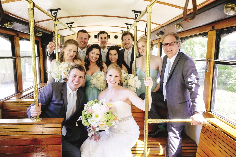 "GANG'S ALL HERE: Following a pre-ceremony ""first look"" at the Cottages on Charleston Harbor (see Tyler's priceless reaction on page 54), the couple and their wedding party hopped aboard Lowcountry Loop Trolley to head to the ceremony. ""Riding over with Jenn was one of the best parts of the entire day,"" says Tyler."