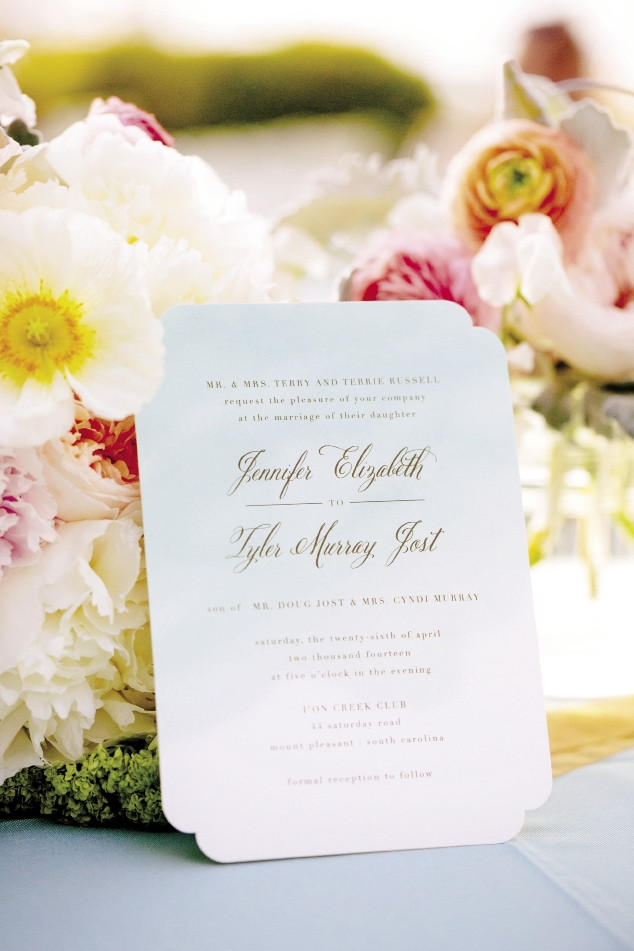 PANTONE PERFECTION: The bride's favorite hue of blue was painted across the stationery in a watercolored ombré style.