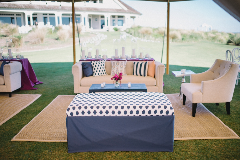 Wedding design by A Charleston Bride. Custom fabrics designed by Blue Glass Design. Photograph by Sean Money & Elizabeth Fay at the Ocean Course at Kiawah Island.