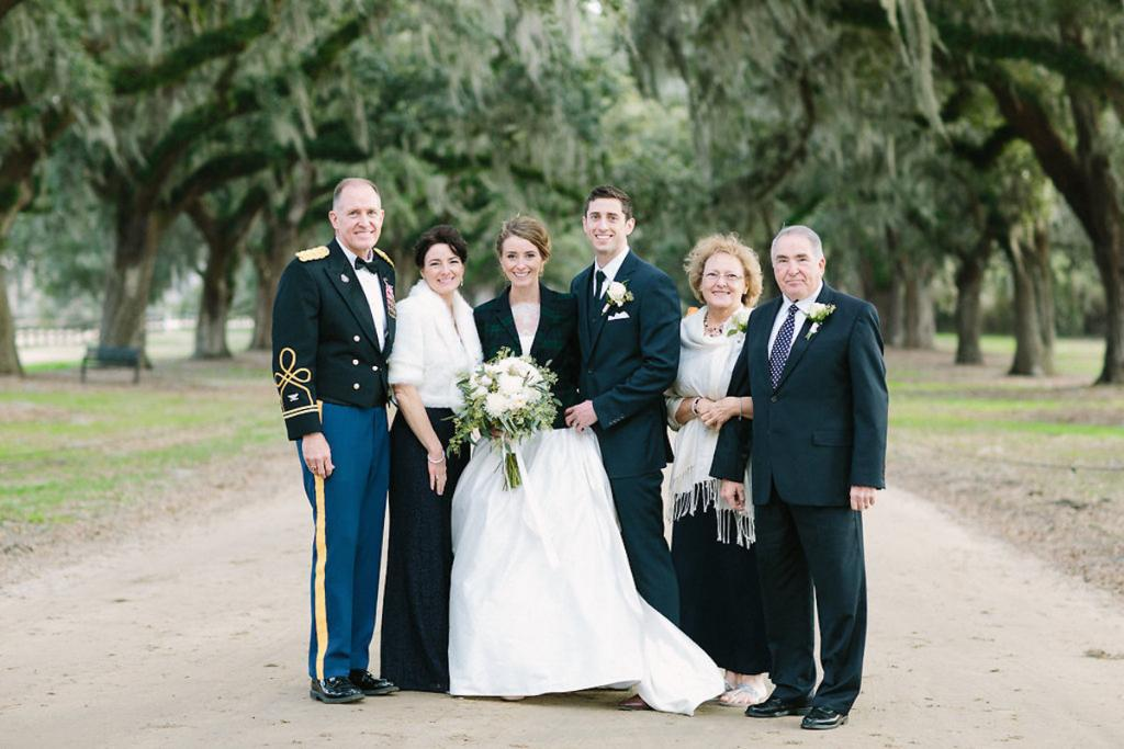 Bride's gown by Tara Keely. Florals by Lauren Luecke. Image by Julia Wade Photography at Boone Hall Plantation.