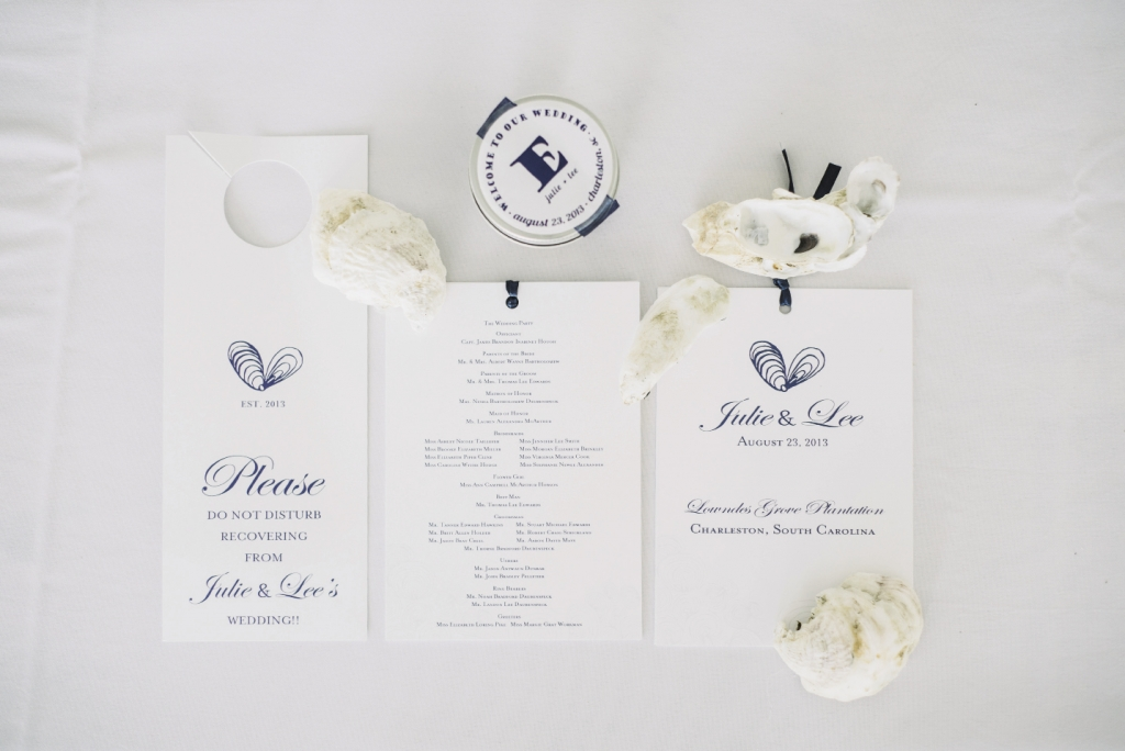 ON THE HALF SHELL: The couple loves hosting oyster roasts in the winter, so Lindsey Shanks of A Charleston Bride called on Sweet Magnolia  Paper to design a heart motif inspired by oyster shells and surprised the couple by featuring it on the programs.