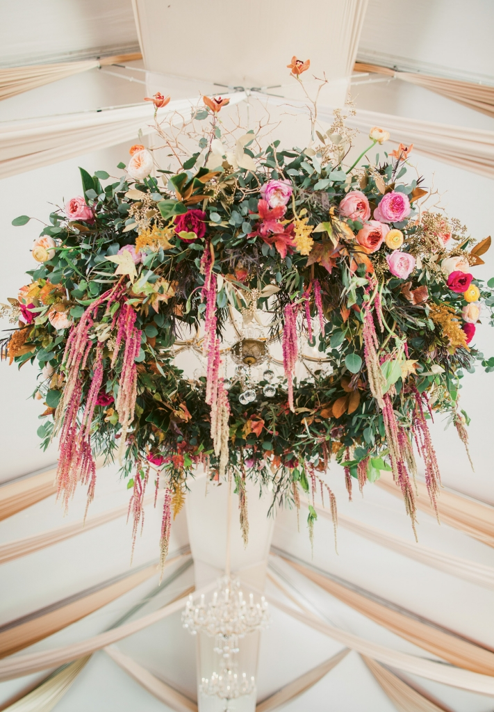 This enchanting floral installation proved to be Branch  Design Studio's largest hanging piece to date.  (Image by Juliet Elizabeth Photography)