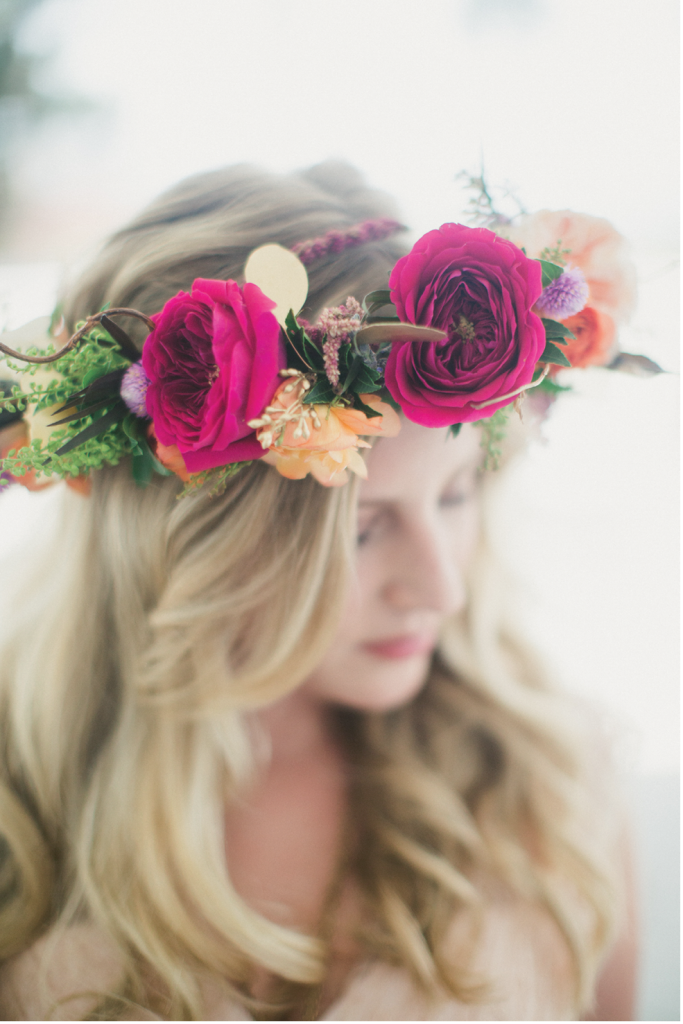 """I wanted my bridesmaids to feel like goddesses,"" Victoria says of her ladies' robust flower crowns. (Image by Juliet Elizabeth Photography)"