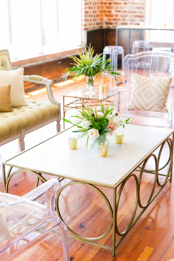 """""""Home design and wedding design can be different,"""" planner Lauren Miller says. """"Together, we used Kate's interiors background and our event experience to pull it all together."""" <i>Photograph by Dana Cubbage Weddings</i>"""