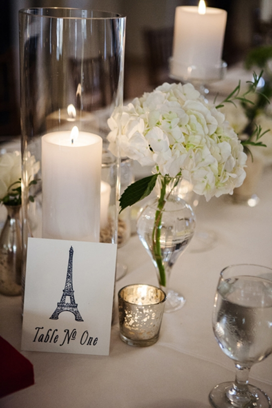 FRENCH FÊTE: Table markers with the Eiffel Tower served as a nod to the groom.