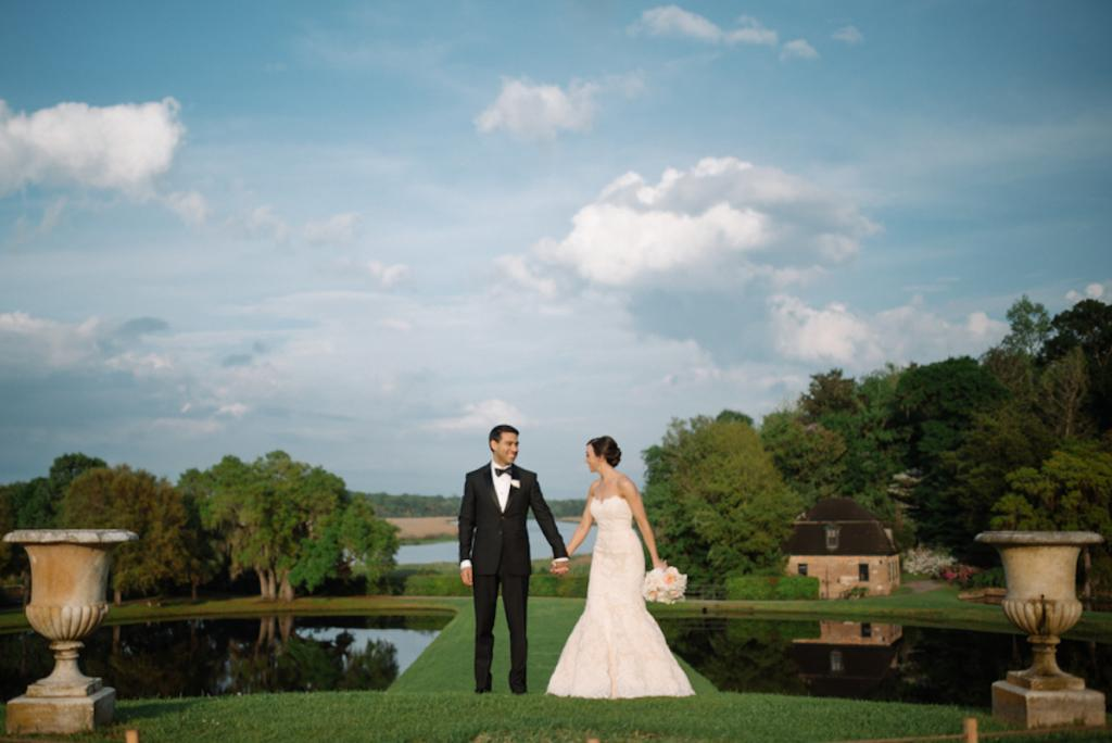 Photograph by Sean Money + Elizabeth Fay at Middleton Place. Bride's attire by Anne Barge, available in Charleston through White on Daniel Island. Groom's attire by Burberry.