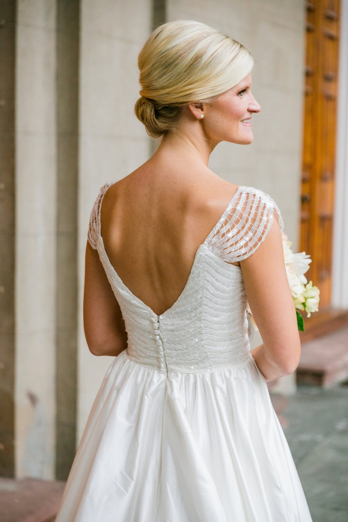 Bride's gown by Modern Trousseau. Hair by Patrick Navarro. Makeup by Bellelina. Photograph by Dana Cubbage Weddings.