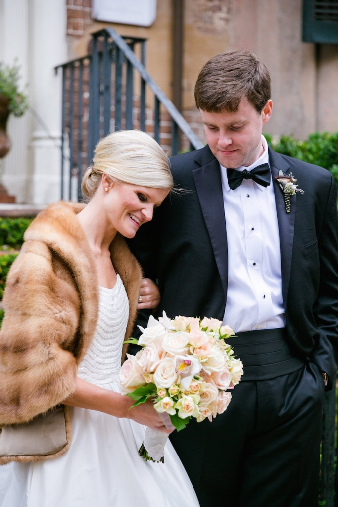 Bride's gown by Modern Troussea. Florals by Carolina Charm. Hair by Patrick Navarro. Makeup by Bellelina. Photograph by Dana Cubbage Weddings.