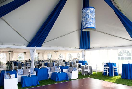 MAKE ROOM: Too create a spacious lounge area and dance floor, Engaging Events attached an open gable tent from Atlantic Rentals to the reception tent already provided by the Island House.