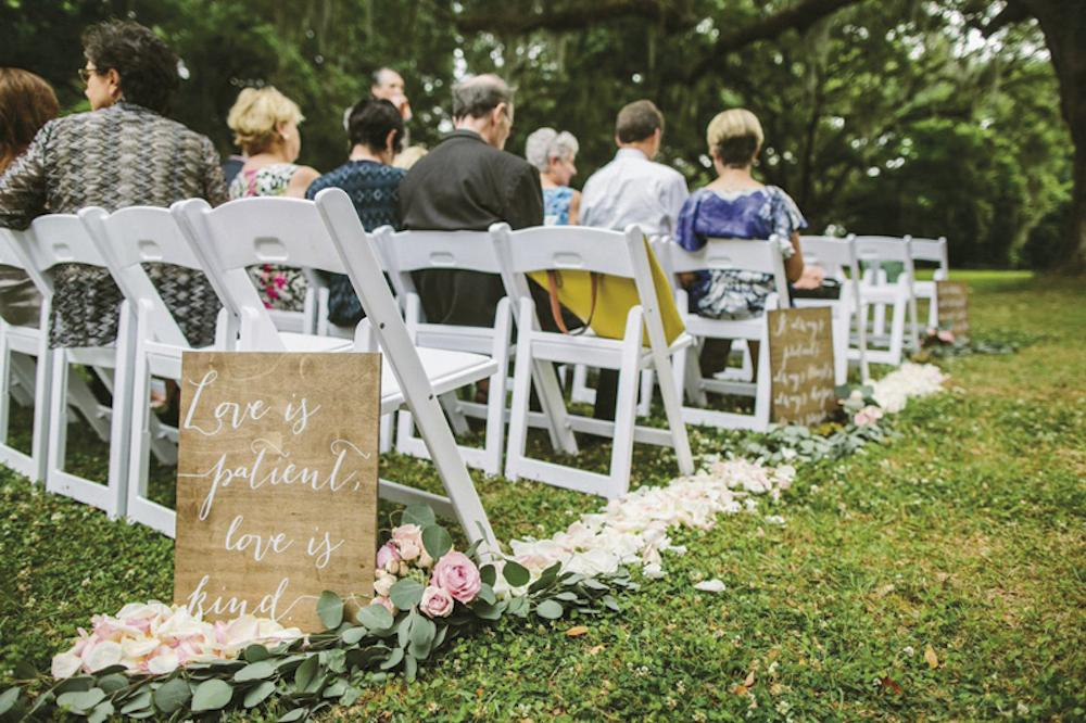 Wedding design and signage by Paper and Pine Co. Wedding coordination by Café Catering. Florals by Branch Design Studio. Photograph by Juliet Elizabeth at the Legare Waring House.
