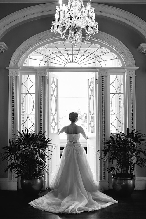 Bride's gown by Annasul Y. Image by Carolina Photography at the Governor Thomas Bennett House