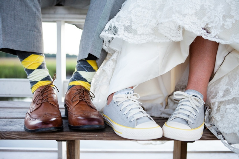 Groom's attire from JoS. A. Bank. Bride's shoes by Converse. Image by Hunter McRae Photography at the Creek Club at I'On.