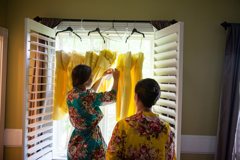 Flower robes by Etsy shop Sunrise to Sunset. Bridesmaid dresses from J.Crew. Image by Hunter McRae Photography.
