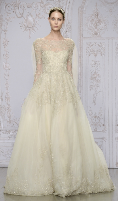 "Gown: ""Elizabeth""  by Monique Lhuillier; Trend: rose gold embroidered tulle; Shop: Maddison Row"
