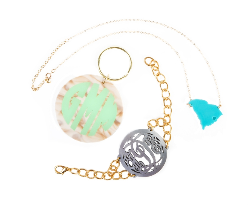 BRAND YOURSELF: South Carolina necklace, monogram key chain, and monogram bracelet from Moon and Lola