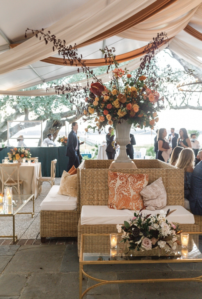 Chic woven furniture aligned with the reception mood, described by Madison as rustic with a coastal influence.