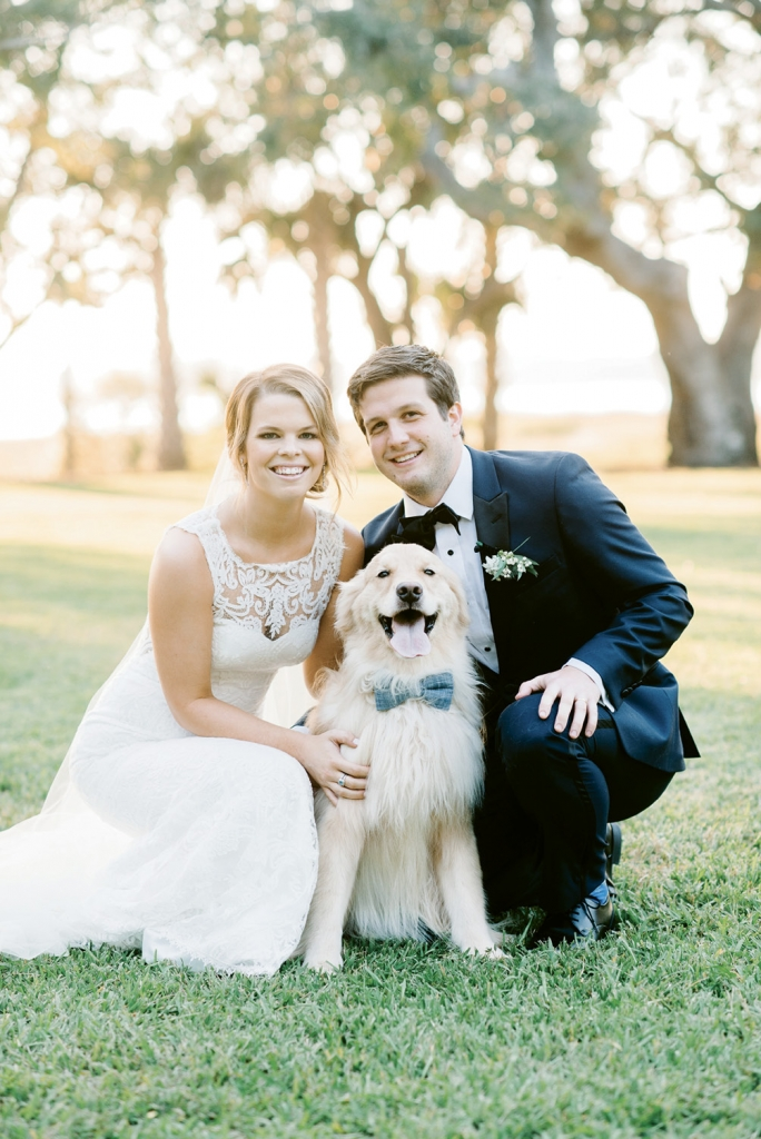 """He smiles for cameras all of the time—it's pretty bizarre,"" says Mallory of her and Kristian's four-year-old golden retriever, Leo. Although the dapper dog couldn't be in the actual ceremony, the couple couldn't resist having their ""dog of honor"" pose with them for a few photos after their ""I do's."""