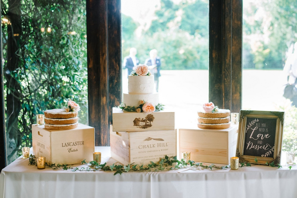 Image by Aaron & Jillian Photography. Cakes by Wildflour Pastry. Signage by Anna Hobbs.