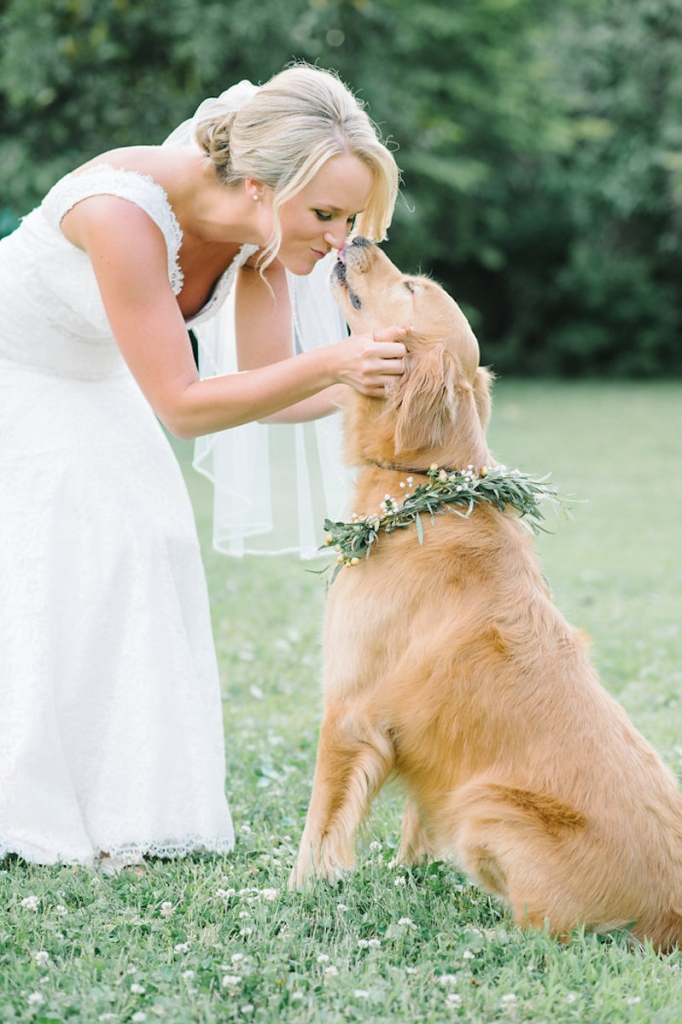 Image by Aaron & Jillian Photography at Magnolia Plantation & Garderns. Bride's attire by Mikaella. Hair by Paper Dolls. Floral dog collar by Wildflowers Inc.