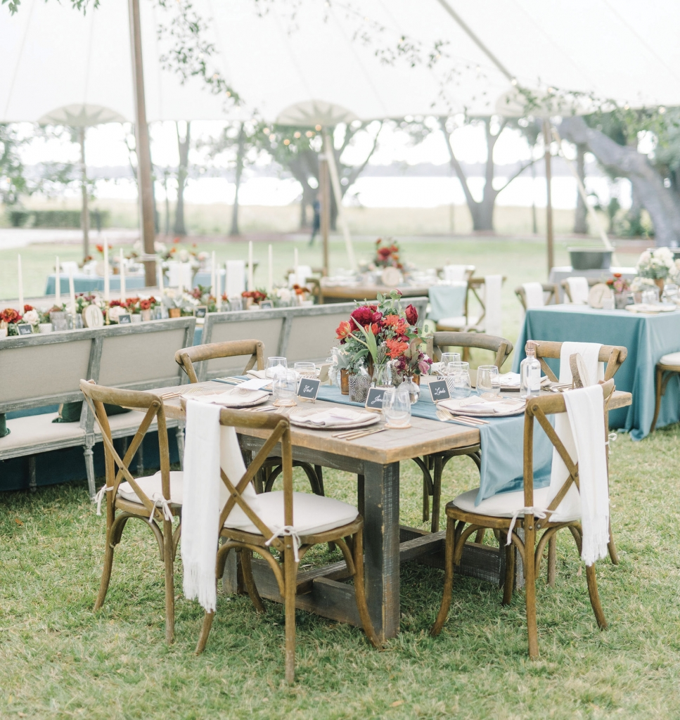 Nicole and Charles saw the silver lining in a smaller guest list due to the pandemic. An additional tent was erected just for dinner so that the original tent could shine as a very open lounge and dance floor.