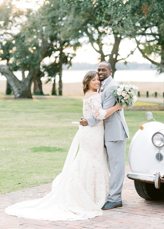 The couple, Goose Creek natives, invited 200 guests. As a nod to Nisha's love of Kate Spade, Justin donned a polka-dotted tie and pocket square.  <i>Image by Aaron & Jillian Photography</i>