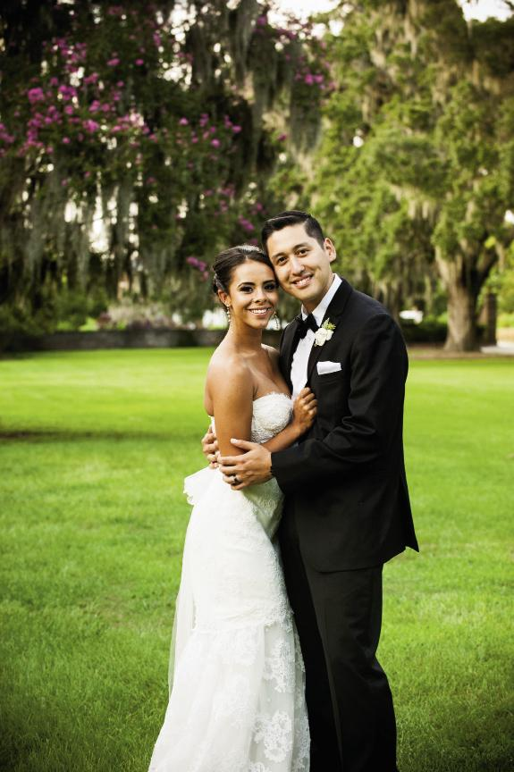 A MODEL PAIR: Amanda wore Monique Lhuillier (available in Charleston through Maddison Row) while Ruben sported a classic Black by Vera Wang tux.