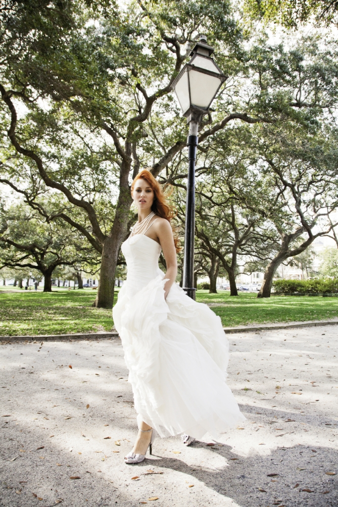 A WALK IN THE PARK: Martina Liana tiered silk organza gown from Gown Boutique of Charleston. Five-strand pearl necklace from Croghan's Jewel Box. Nina's d'Orsay heels from LulaKate.