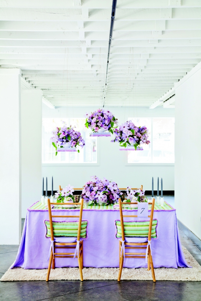 COLOR PLAY: Pale lavender anchored—and tempered—the various elements.