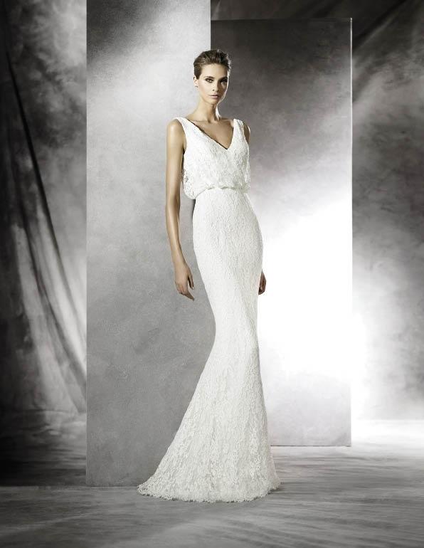 Trend: blouson top. Designer: Pronovias. Boutique: Gown Boutique of Charleston. Photograph courtesy of the designer.