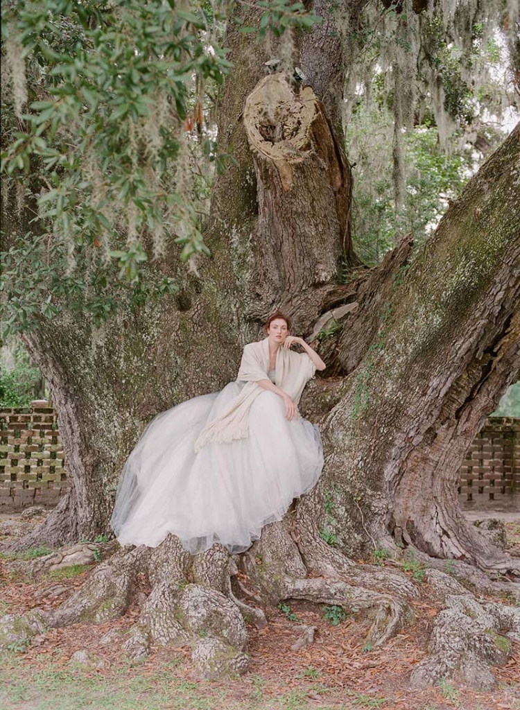Gown from Palmetto Bridal. Wrap from RTW.   <i>Photograph by Corbin Gurkin</i>