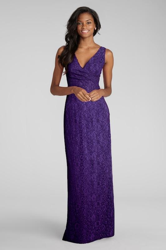 "Donna Morgan's ""Lark"" in Purple Dahlia. Available in Charleston through Bella Bridesmaids."